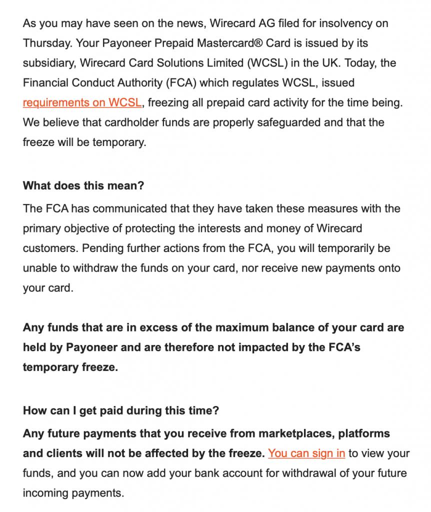 Payoneer email